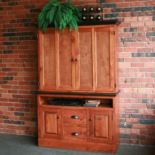 Southern Pine Flat Screen TV Cabinet with Widescreen Base ...