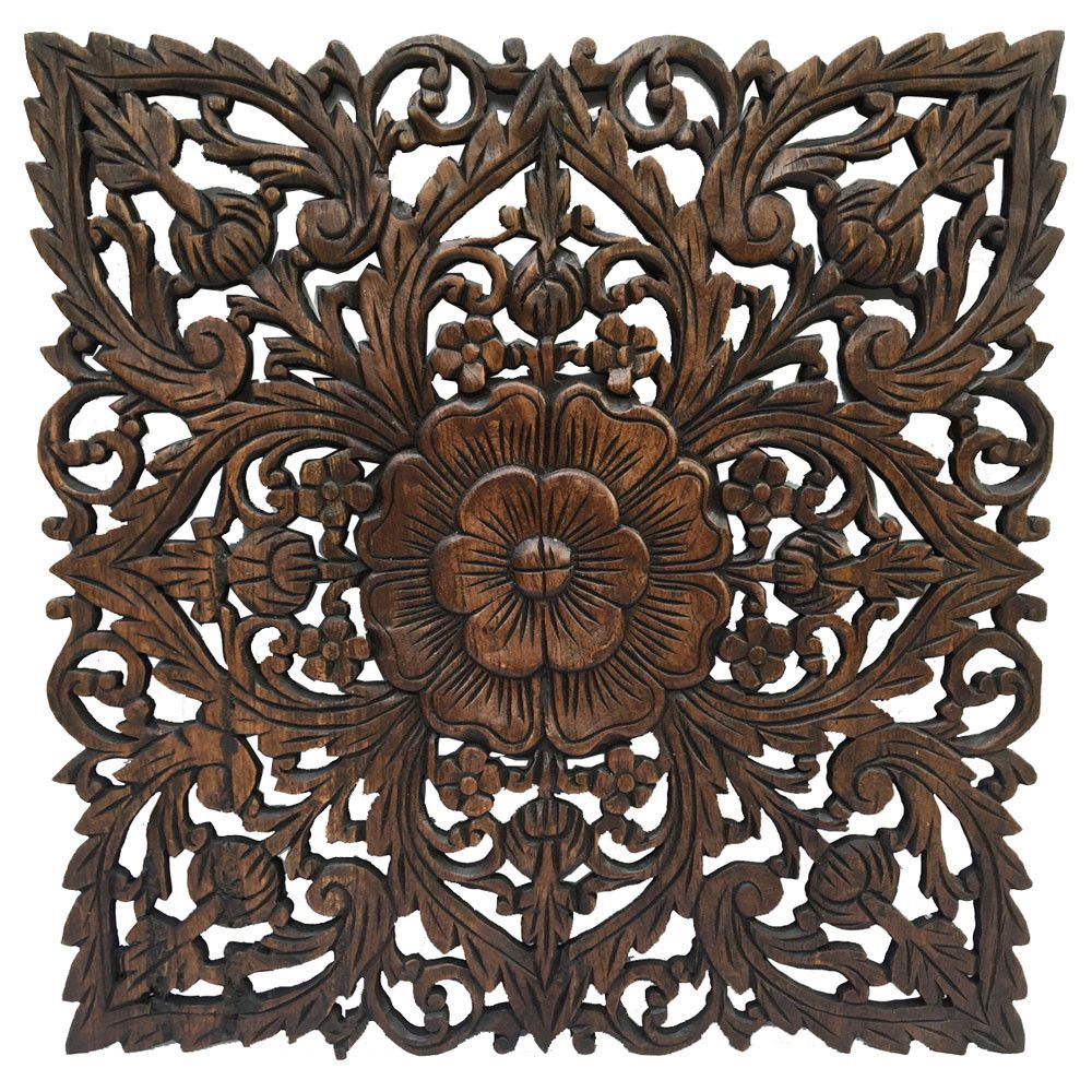 Oriental Carved Floral Wall Decor Unique Asian Wood Wall Art