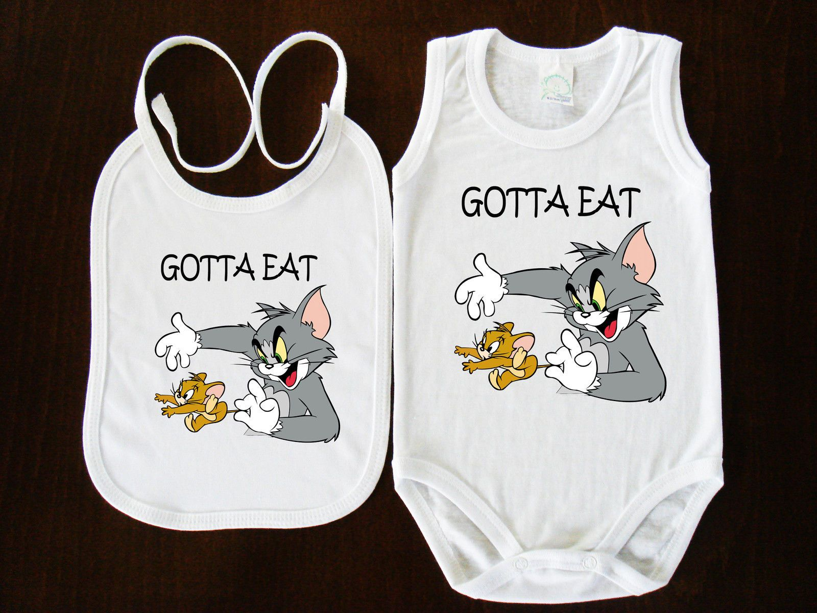Tom and Jerry BIBS+BABY BODYSUIT ONESIE ONE PIECE CLOTHING  FUNK