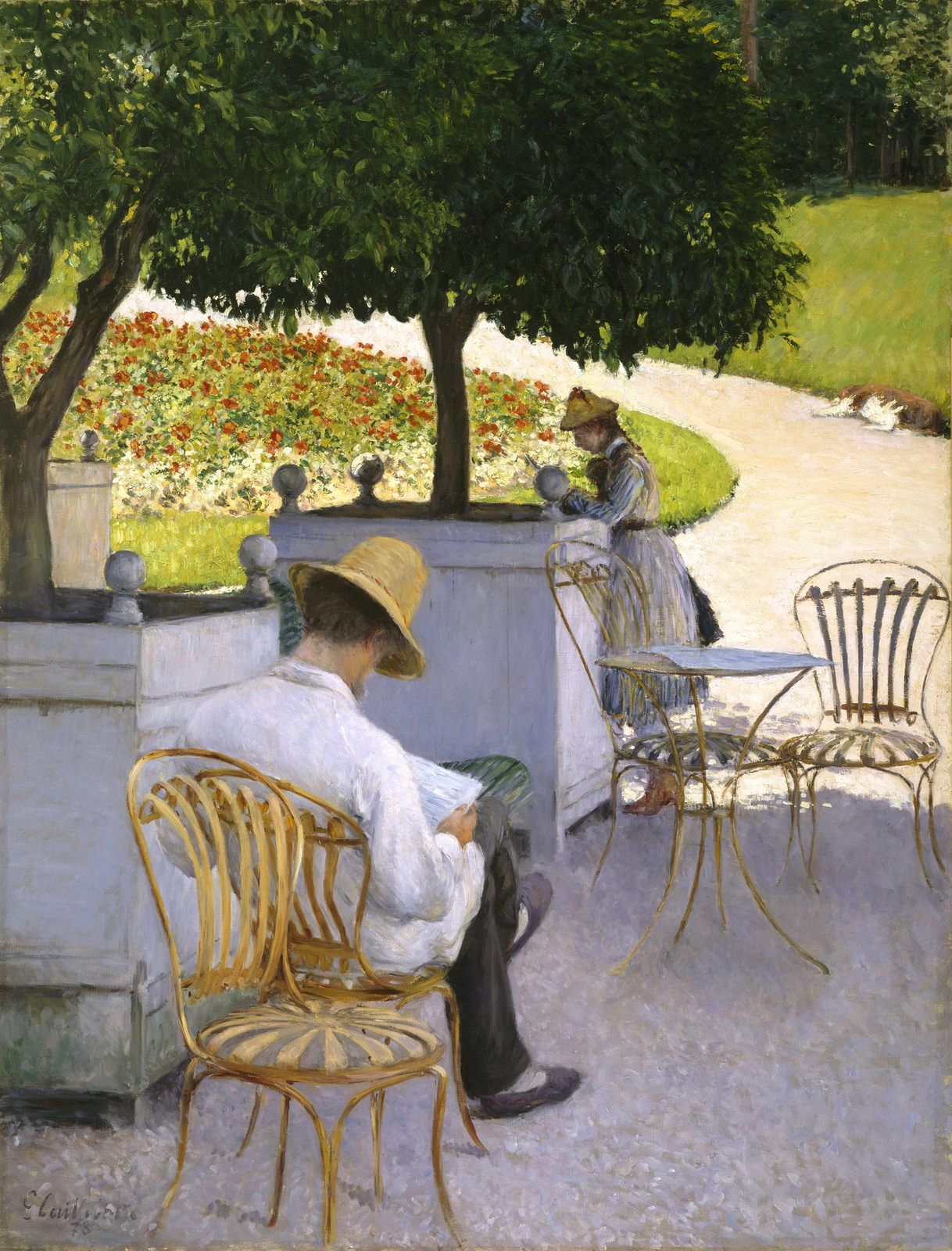 https://flic.kr/p/G5faFq | Gustave Caillebotte - The Orange Trees [1878] | Caillebotte painted this canvas en plein air at the family's country estate in Yerres in 1878. The image depicts a daytime scene. Caillebotte's brother Martial is reading while sitting in the shade of the orange trees with his back towards the viewer. The lightweight painted sprung-steel garden chairs in the foreground appear in other works painted at Yerres, and can be seen in a contemporaneous photograph of the…