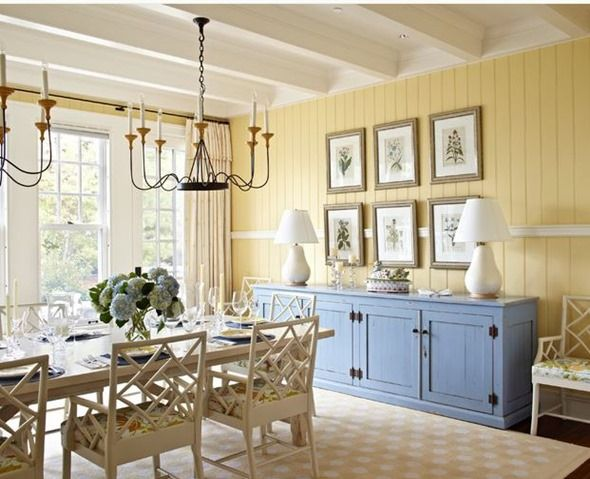 love the chair rail around the room in this paneled dining room - Kitchen Paneling Ideas