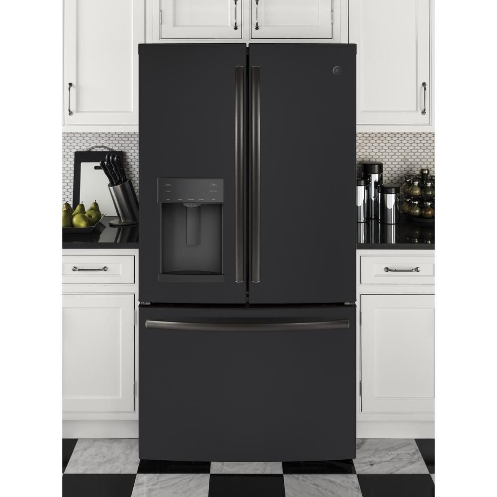 Ge 278 cu ft french door refrigerator in black slate