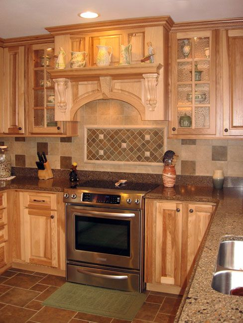 Hickory Cabinets Tile Back Splash And Floor Stainless Appliances