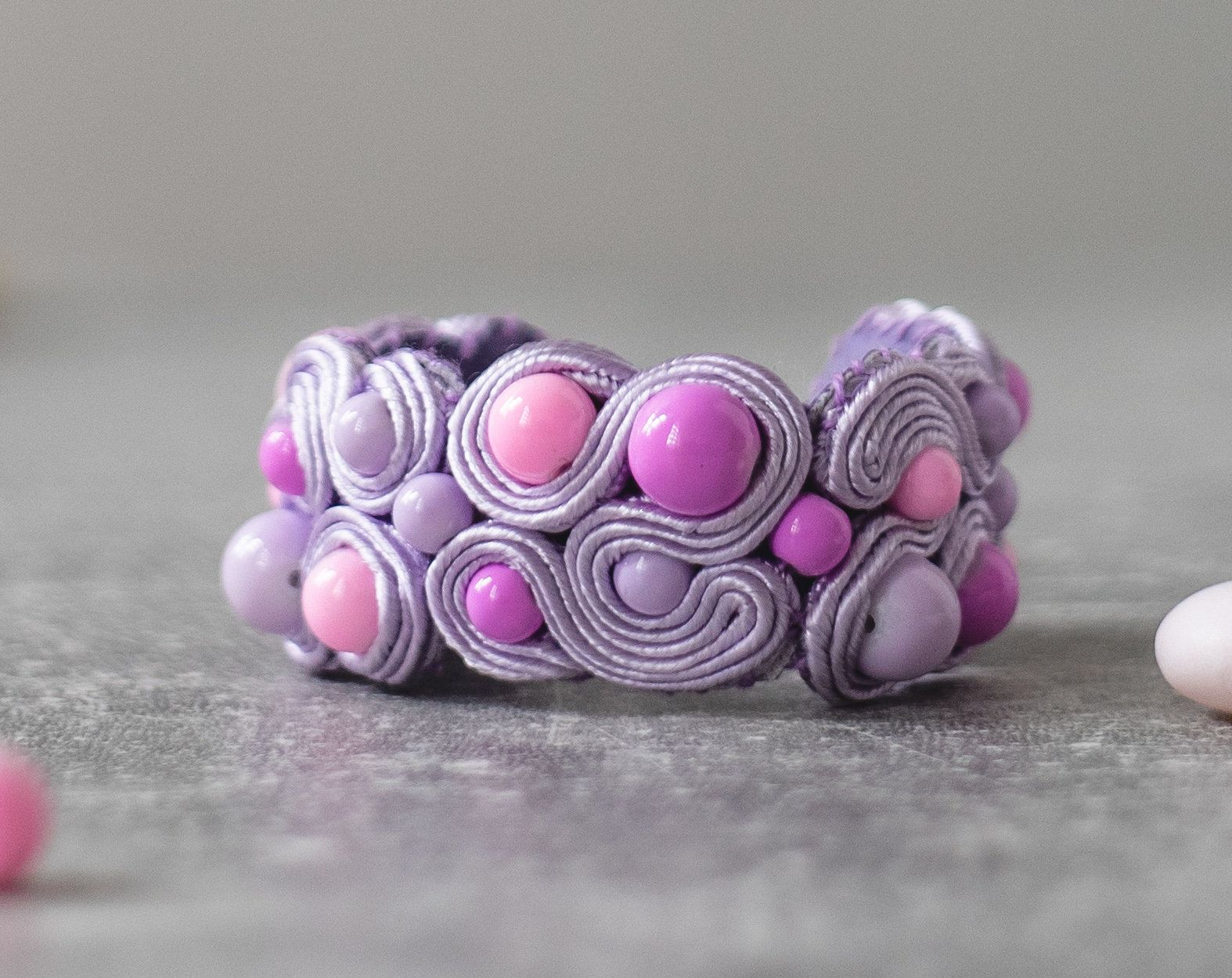 Pastel Bracelet / Soutache Jewelry / Pastel Goth Jewelry / Lavander Purple Bracelet / Vegan Leather / Gift for Her / Casual Goth Store #casualgoth