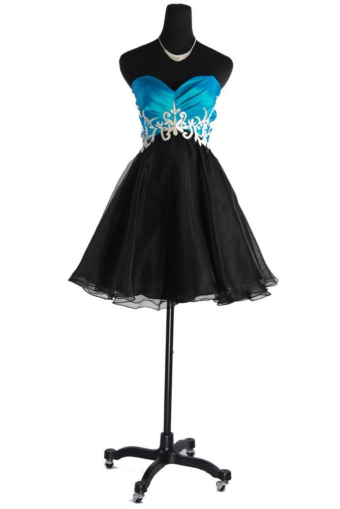 Short Organza strapless black and turquoise cocktail dress Qpid Showgirl