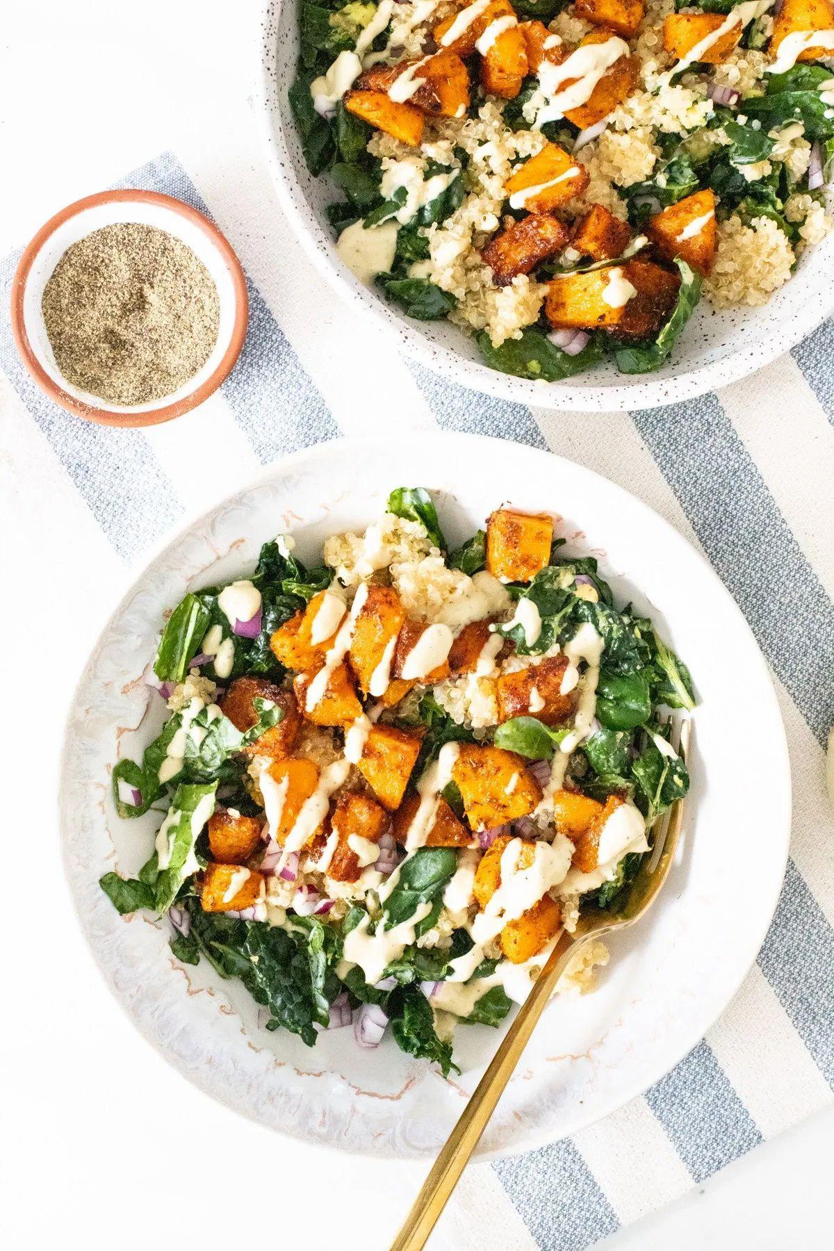 Butternut Squash Quinoa Bowls This Savory Vegan Recipe In 2020 Savory Vegan Vegan Dinner Plan Butternut Squash Quinoa