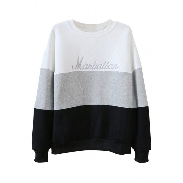 Sweat Color Block Letter Embroidery Sweatshirt OASAP.COM ($13) ❤ liked on Polyvore featuring tops, hoodies, sweatshirts, embroidered sweat shirts, color block top, colorblock top, embroidered top e color block sweatshirt