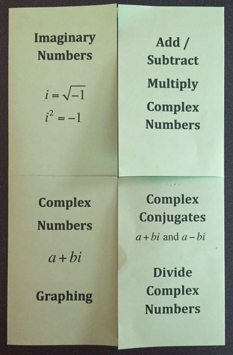 Complex Numbers Foldable and Kahoot for Algebra 2 or Pre-Calculus ...