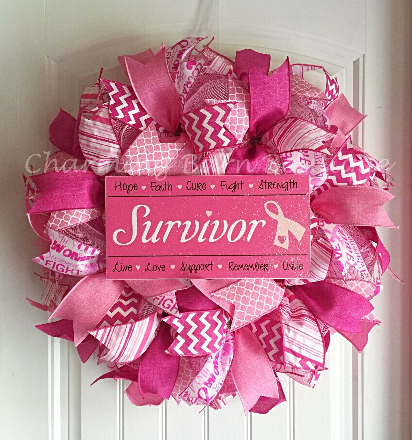 Breast cancer ornament - Breast Cancer Wreath Breast Cancer Awareness Wreath Breast Cancer Survivor
