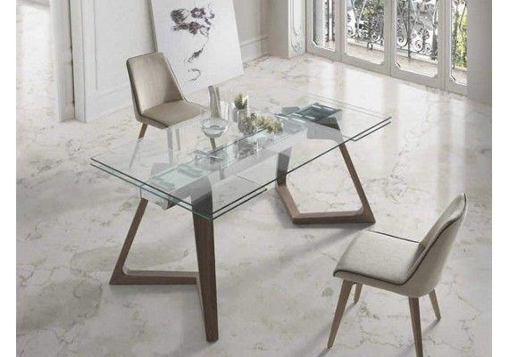 Precio mesa comedor de diseño patas madera encimera de cristal Nil ...