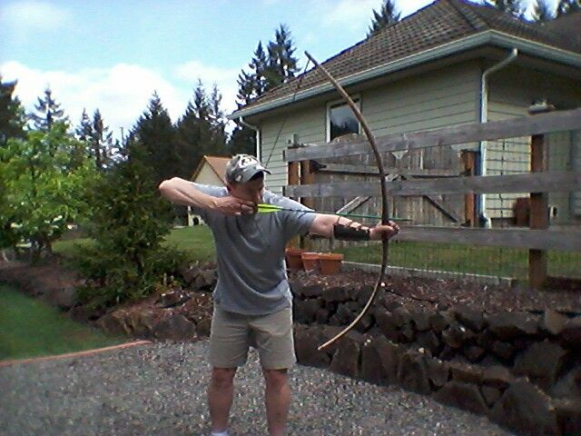 Selfbow from a cherry tree in my yard  60# @ 27