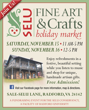 SELU Fine Art & Crafts Holiday Market on Saturday, November 15th and Sunday, November 16th. Free admission. Proceeds benefit SELU Endowment.