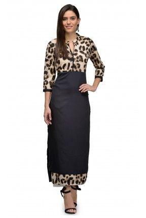 b56a001cf6 Beige Animal Print casual Long Kurti
