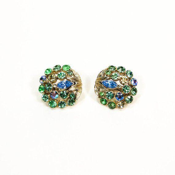 418b8a50b Blue and Green Rhinestone Earrings, Clip On Earrings, Round Shape, Button  Style, Aurora Borealis, Mi