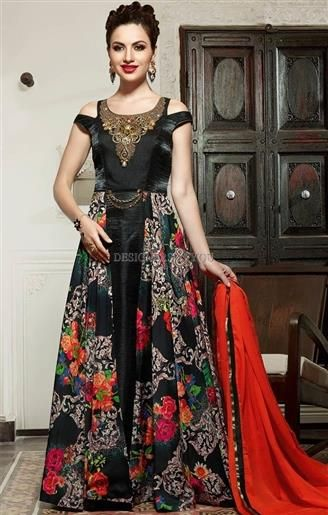 d273c432854 Heavenly Black Embroidered Silk Long Indian Gown Dress  Gowns  GownDresses   GownsDress  DesignersAndYou  GownDressesOnline TrendyGowns  IndianGowns   GownsUK ...