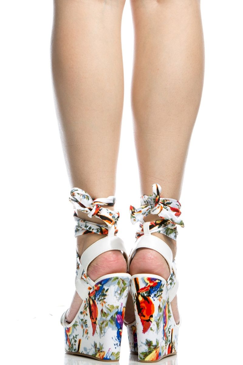 fa3799ca05d White Faux Leather Multi Print Wrap Around Wedges @ Cicihot Wedges ...