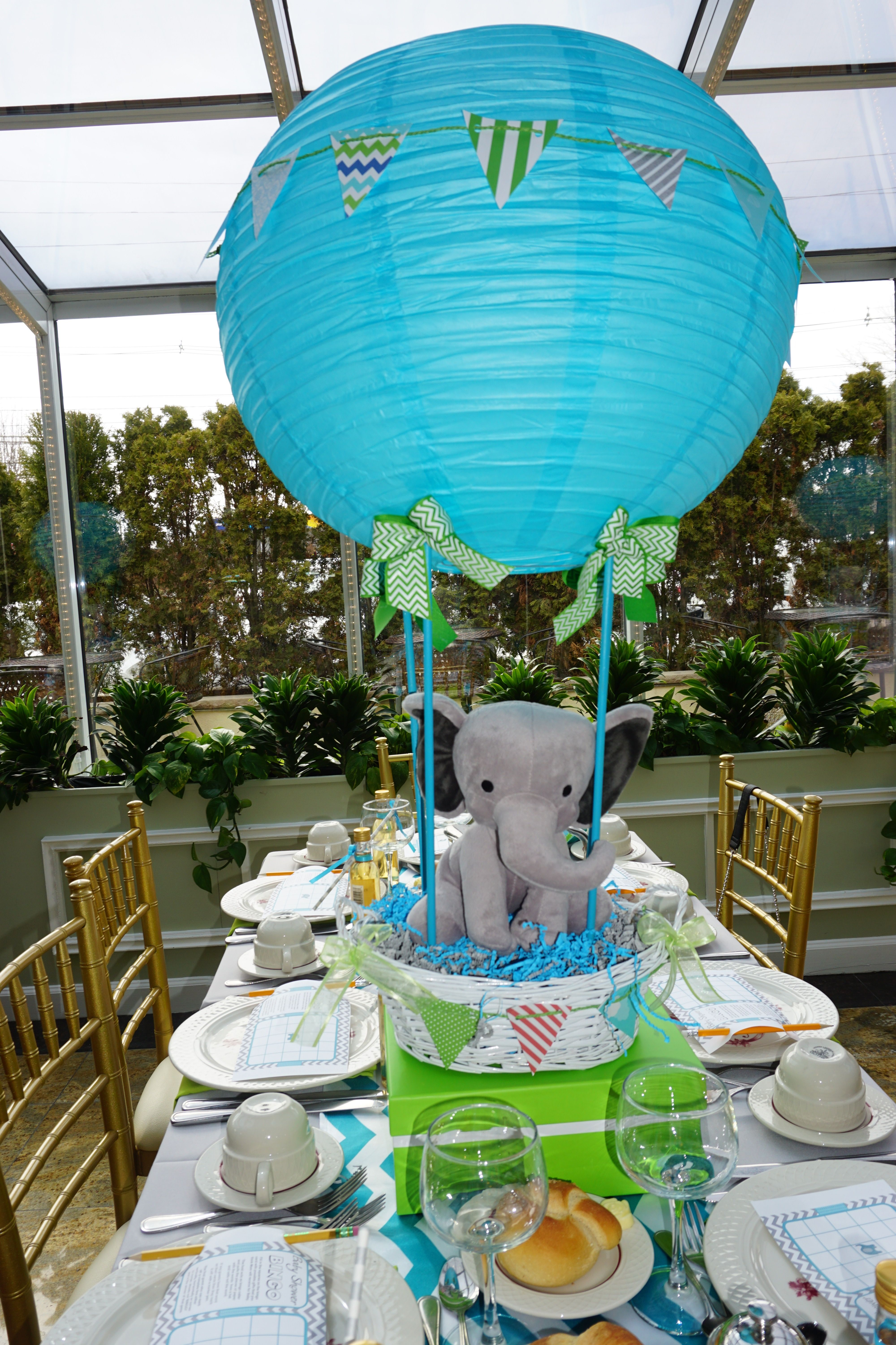 Hot Air Balloon Centerpiece For A Baby Boy Hot Air Balloon Baby Shower Boy Hot Air Balloon Baby Shower Hot Air Balloon Baby Shower Theme