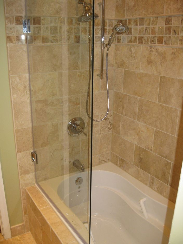 Glass panel without frame for bathtub a bathtub fixture Shower tub combo with window