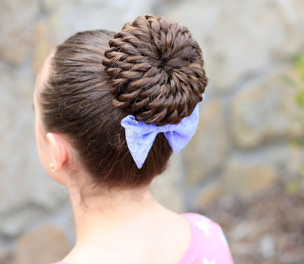 Cute Girls Hairstyles: Rope-Twist Pinwheel Bun Tutorial & Video / Cute Girls