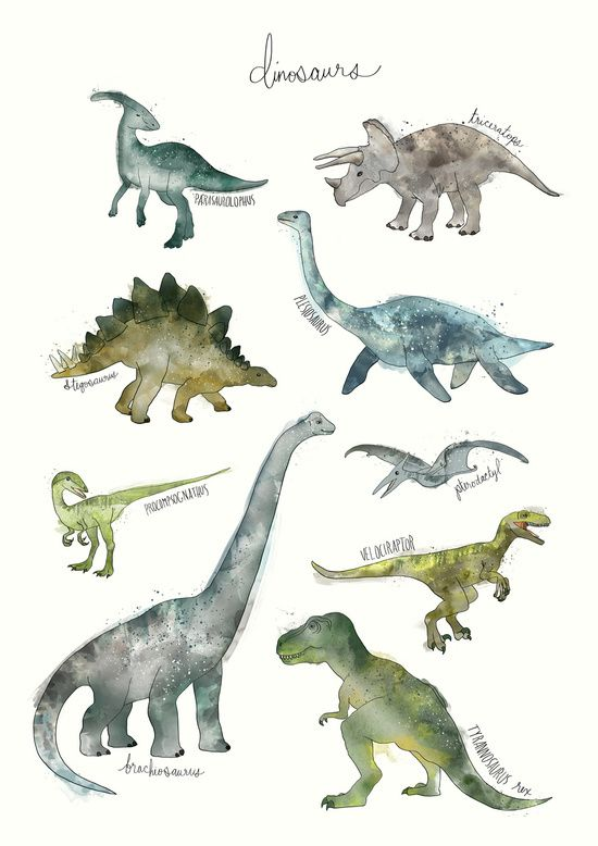 Dinosaurs Art Print by Amy Hamilton #dinosaurillustration