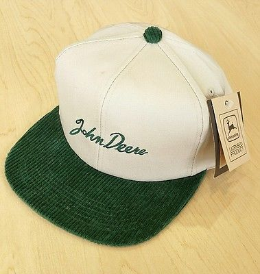 John Deere Hat Green Corduroy Embroidered Snapback New With Tags LOOK!