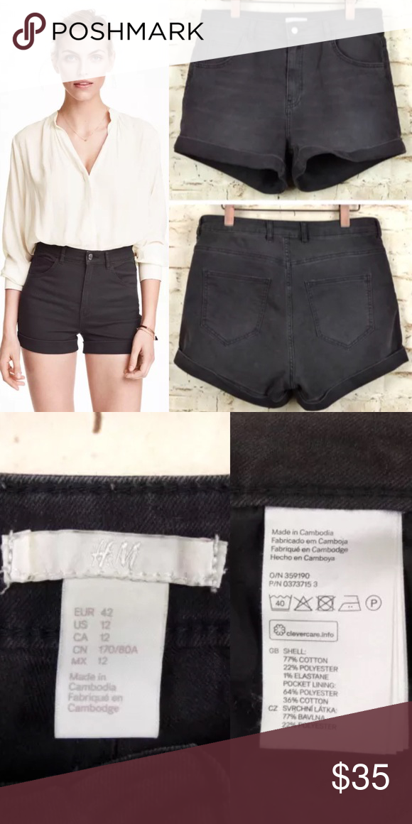 35e0d2bb43bf H&M Faded Black Wash High Waist Twill Shorts Pre-owned and in excellent  condition,