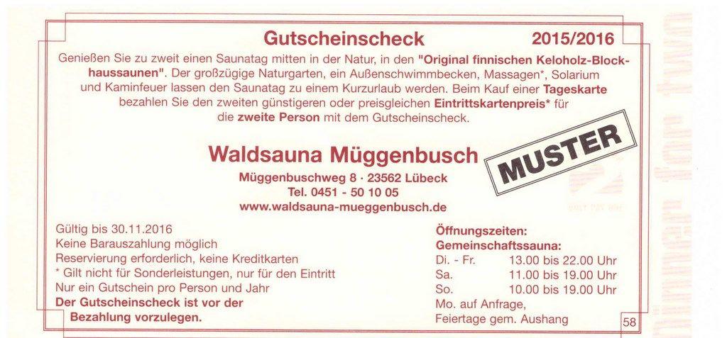 Waldsauna Muggenbusch Lubeck Gutschein Restaurant Essen