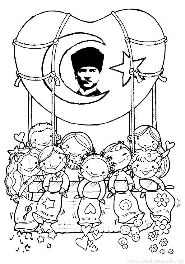 10 Kasim Etkinligi Kalibi Okuloncesitr Preschool Boyama Sayfalari Ortaokul Sanati Nisan