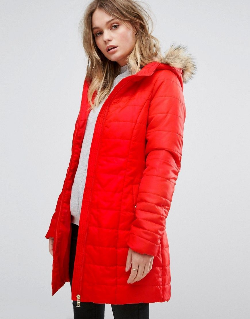 Get this Vero Moda s fur coat now! Click for more details. Worldwide  shipping. Vero Moda Padded Parka With Faux Fur Hood - Red  Jacket by Vero  Moda, ... 23606401ea42