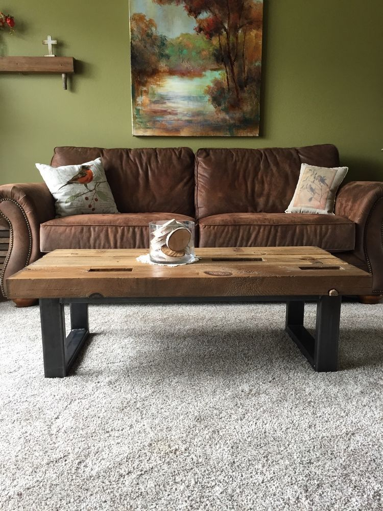 Reclaimed Barn Wood Beam Coffee Table Rustic Look Iowa Made By Hand Handmade