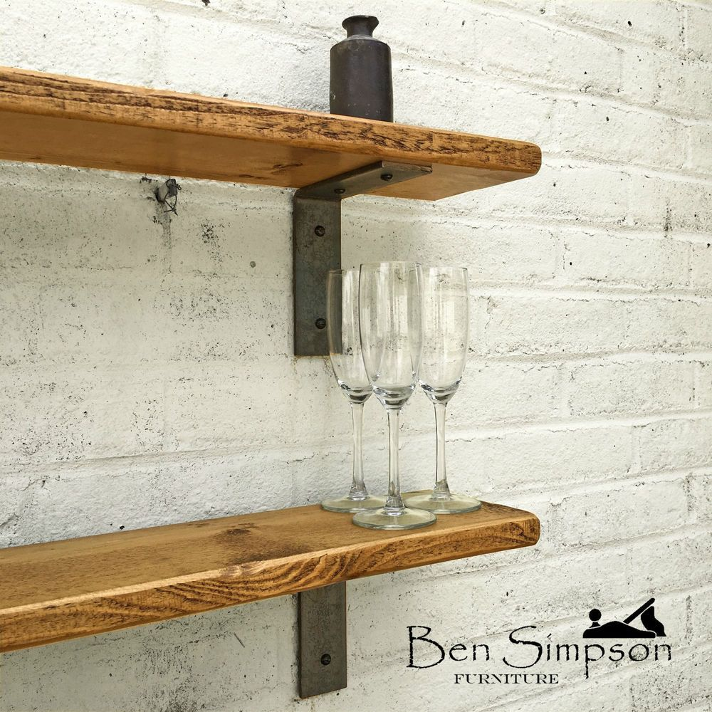 Industrial Thin Shelf Mantel Raw Steel Supports Metal Brackets TMB22 In Home Furniture DIY Bookcases Shelving Storage