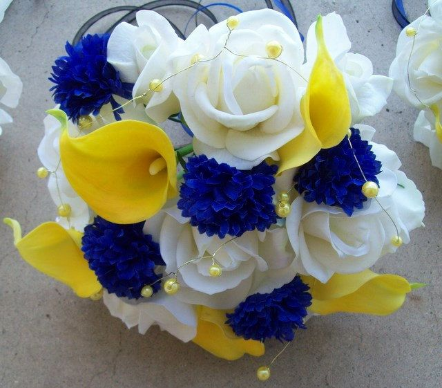 Real Touch Roses And Calla Lilies Silk Flower Wedding Package Yellow And Royal Blue Flowers 6 Pieces Made To Order Yellow Wedding Flowers Blue Yellow Weddings Royal Blue Flowers