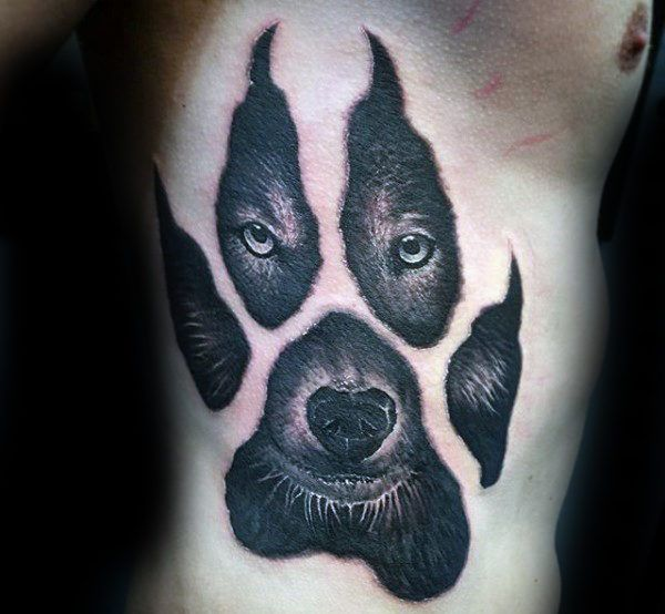 50 Wolf Paw Tattoo Designs For Men Animal Ink Ideas Wolf Paw Tattoos Mens Side Tattoos Paw Tattoo