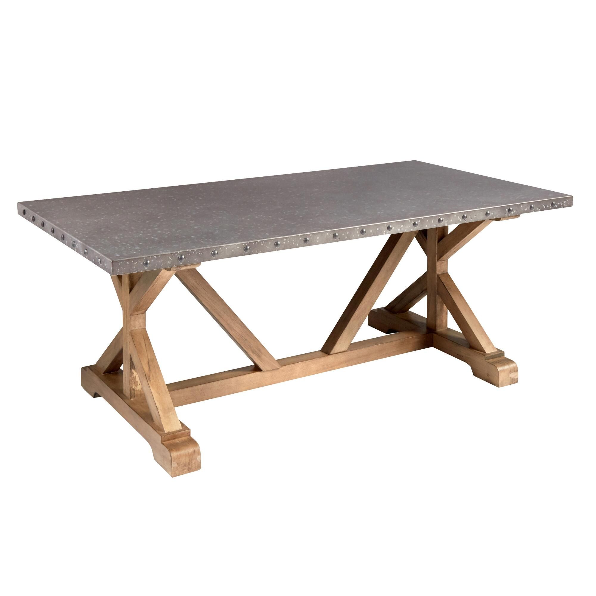 Galvanized Metal Wood Coffee Table
