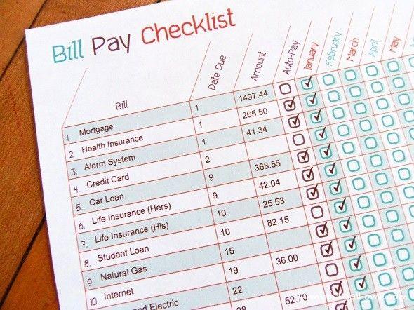 Printable Bill Pay Checklist Get Organized Budgeting