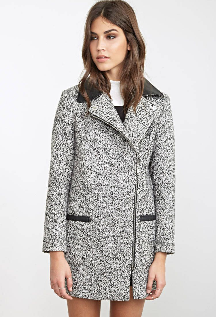 Faux Leather-Trimmed Marled Coat