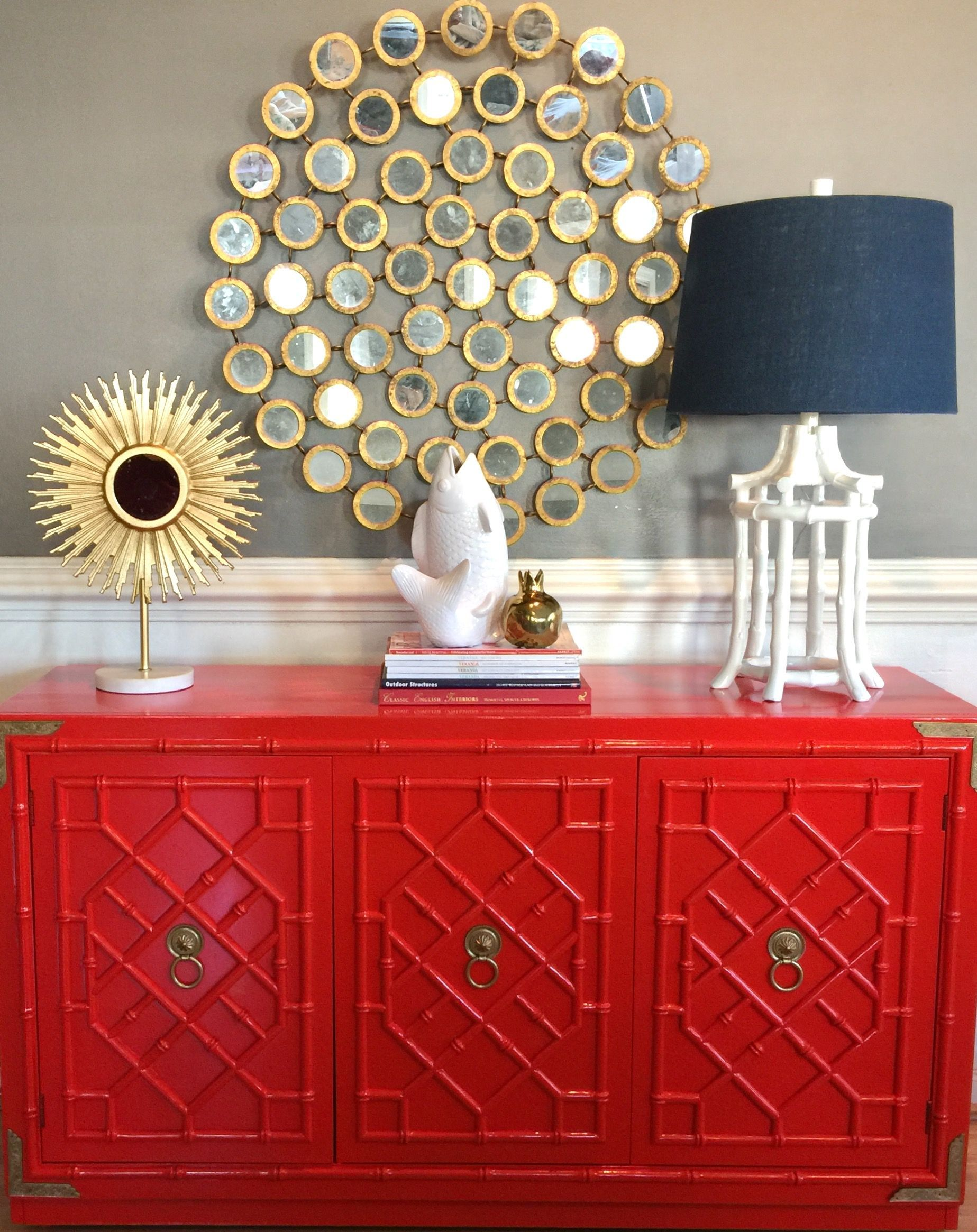 Thomasville Huntley Allegro Faux Bamboo Fretwork Buffet Server Redone In Lacquered Chinoiserie High Gloss Red V Redo Furniture Colorful Furniture Faux Bamboo