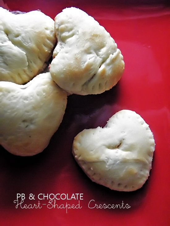 Peanut Butter & Chocolate Heart-Shaped Crescents, a yummy way to show your love on Valentine's Day!