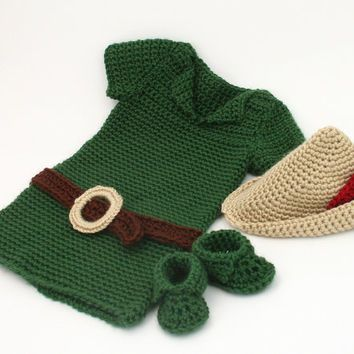 PATTERN,Baby Boy Crochet Outfit,Baby Robin Hood Costume PATTERN,Baby ...