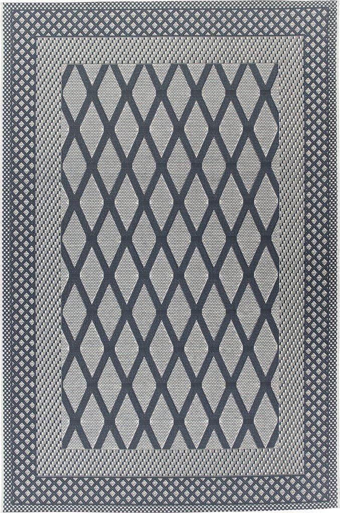 Zoe geometric dark grey & black outdoor rug by Sitap in