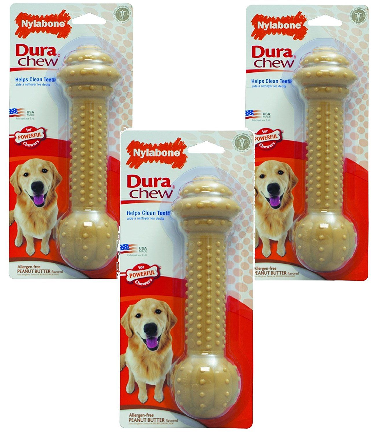 3 Pack Nylabone Dura Chew Large Peanut Butter Flavored Barbell