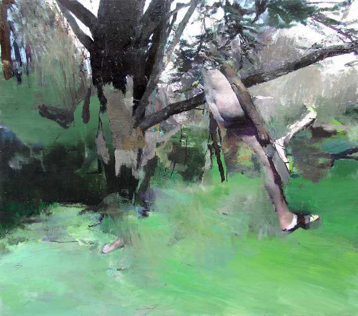 Justin Mortimer (1970-…), Strap, 2007, huile sur toile, 188 x 213cm.