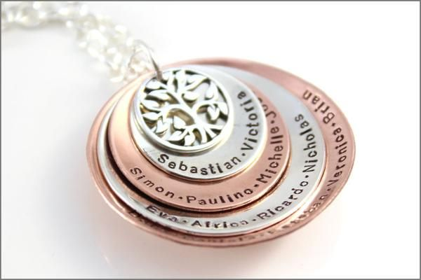 Custom Name Necklace Custom Gifts for Grandma Sterling Silver Washer Necklace with Tree of Life Special Grandma Gifts