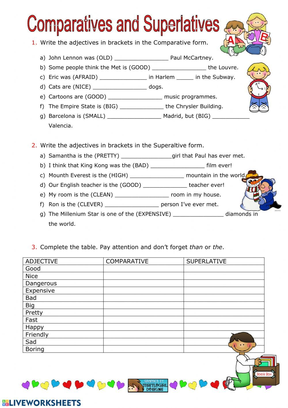 Degrees Of Comparison Of Adjectives Interactive And Downloadable Worksheet You Can Do The Exercises Onlin In 2020 Degrees Of Comparison Adjectives Adjective Worksheet