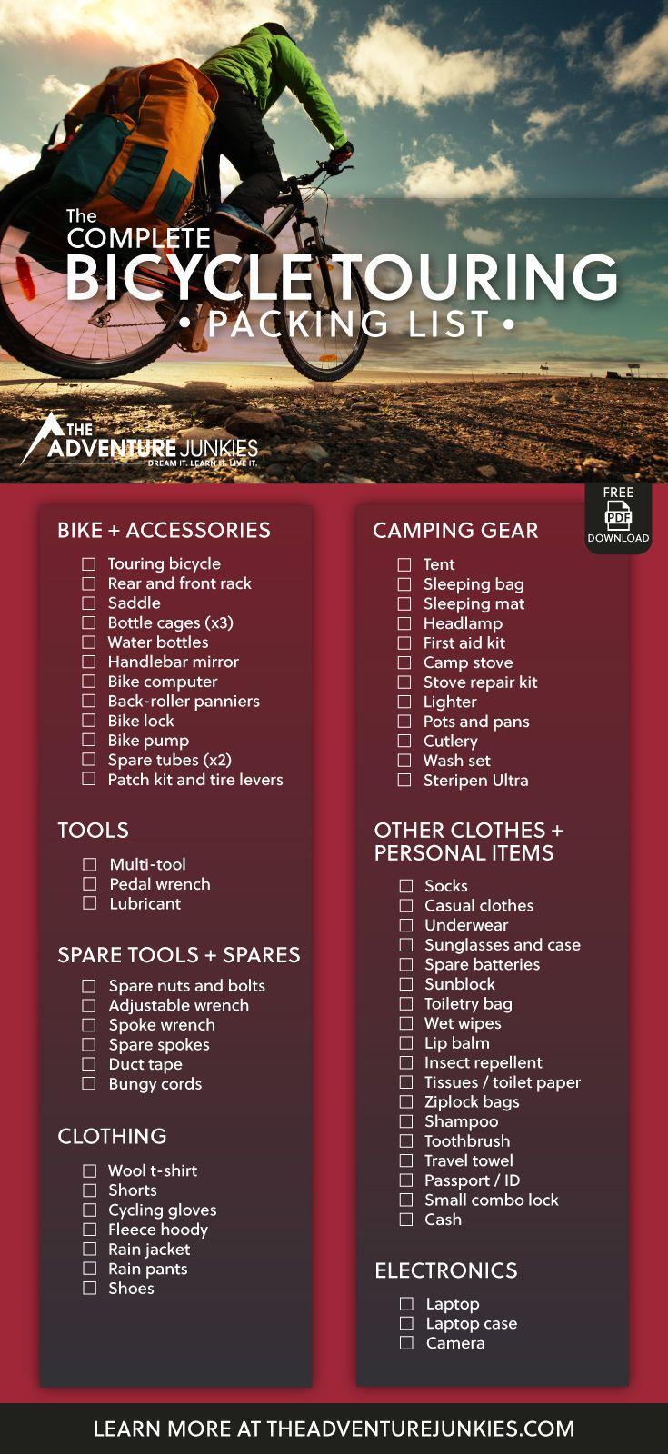 Bike Touring Packing List Bike Touring Packing Touring Bicycles Touring Bike