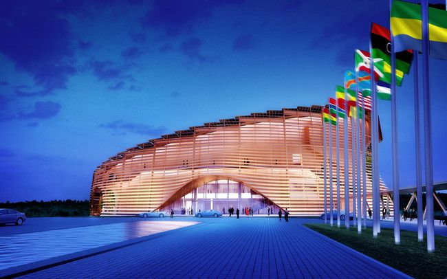 The WORKac-designed L'Assemblée Radieuse, under construction in Libreville, Gabon, will host the next Summit of the African Union.