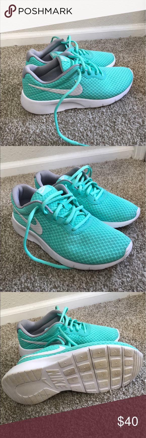 Nike Tanjun Turquoise White Nike Tanjun Running Shoes Youth Size 4 5 Women S Size 6 5 Limited Wear Nike Shoes Ath Tretorn Sneaker Clothes Design Nike Tanjun