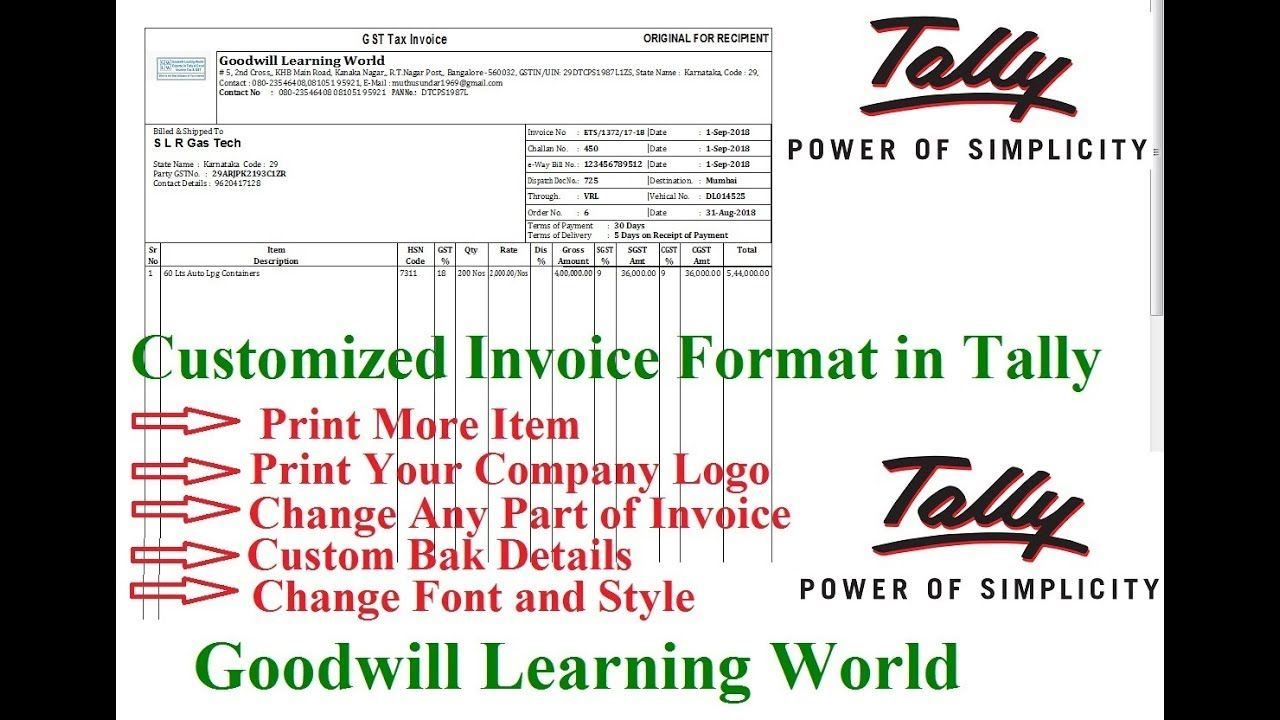 Tally TDL for Dynamic GST Invoice with Logo Print Tally Add