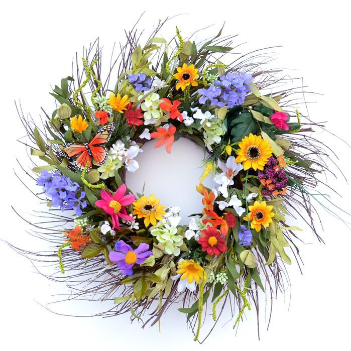 Faux Daisy & Lilac Wreath