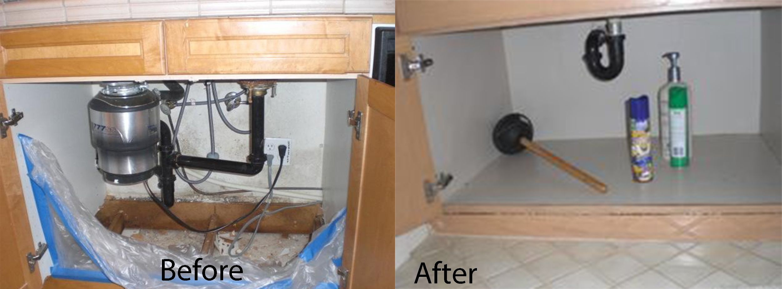 Before and after leaking sink damaged the bottom of the